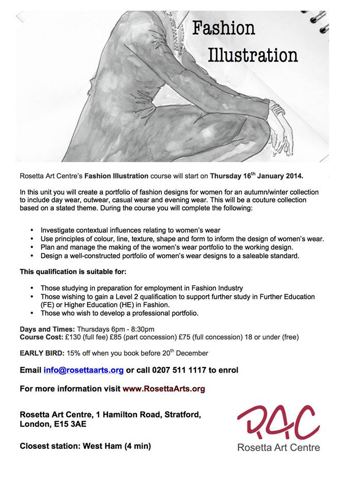 Rosetta Art Centre  Fashion Illustration course
