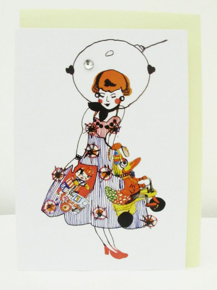Space Doll Greeting Card