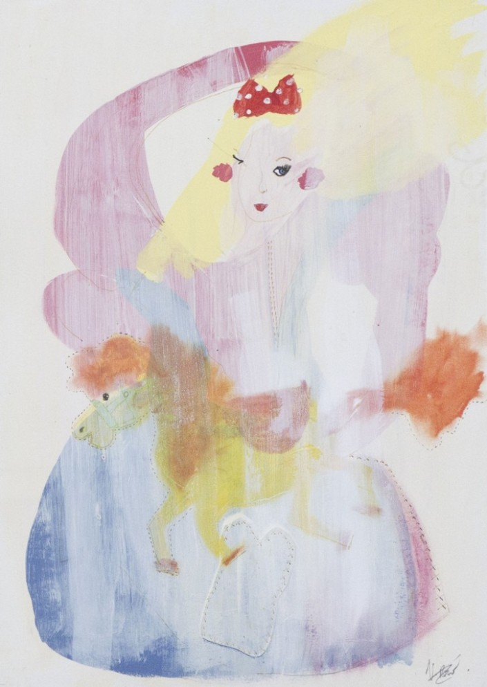 Veronica-Rowlands-Surreal-Fashion-Doll-2-2012-Mixed-Media-Acrylic-gesso-pastel-and-ink-39-x-51cm-£560-726x1024