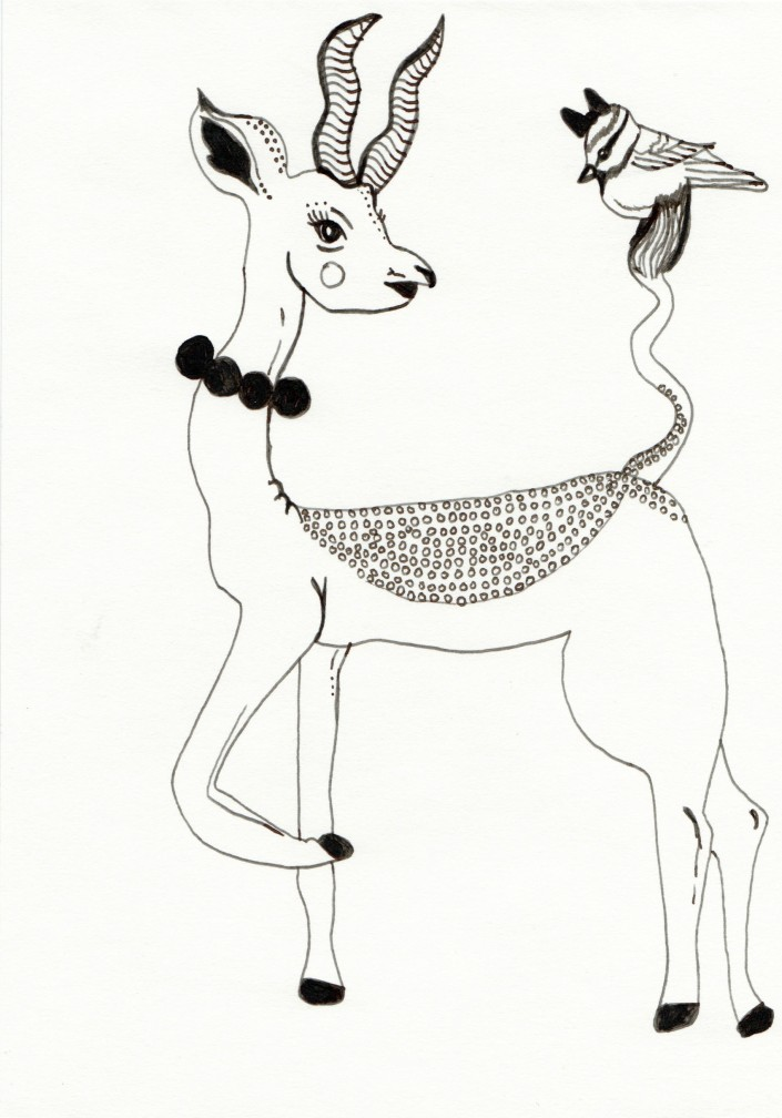 Deer and birdie