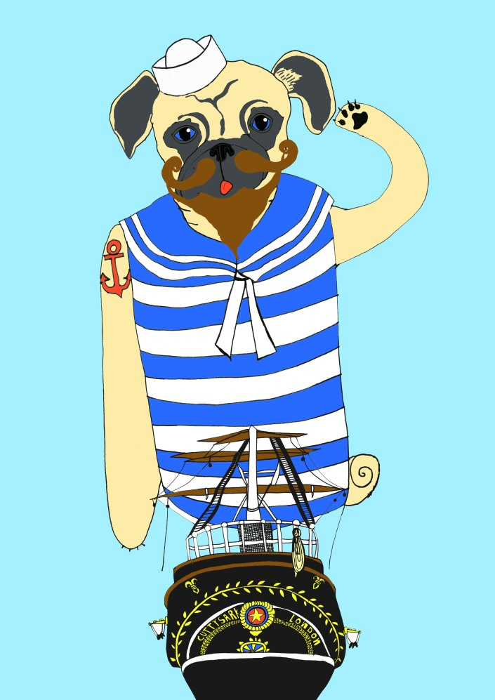 Sailor Pug finished blue sky