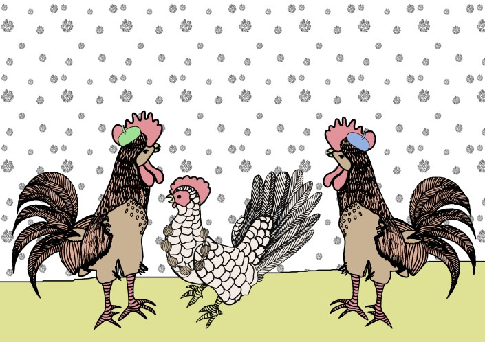 3 french hens card finished