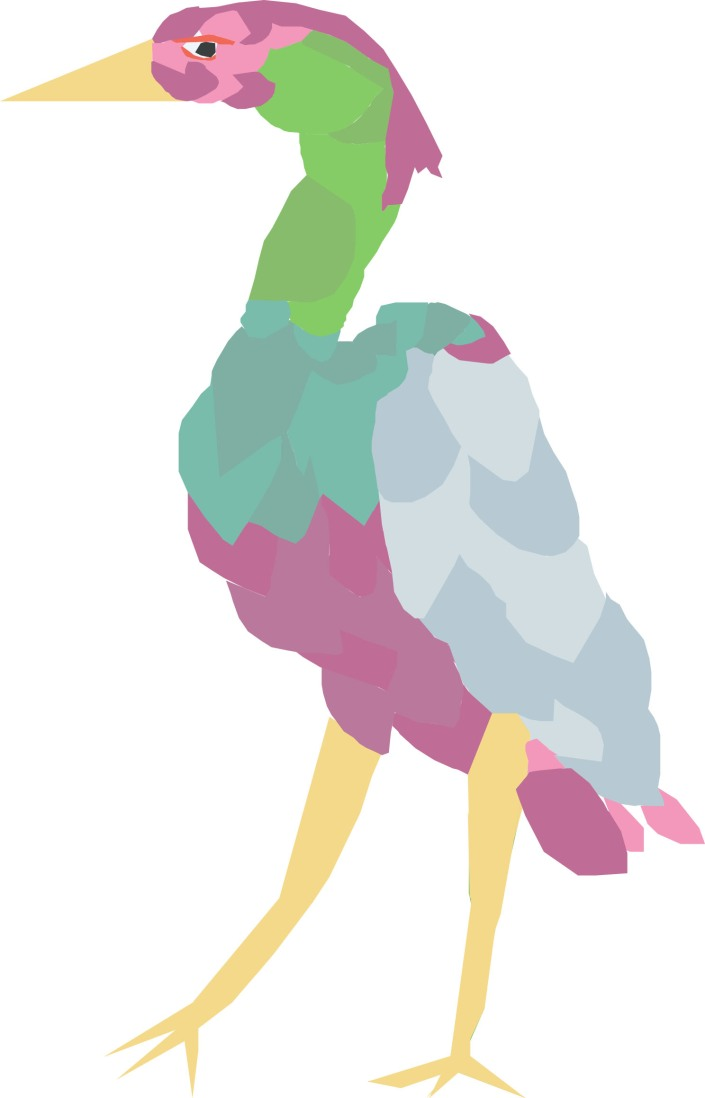 Colourful heron traced